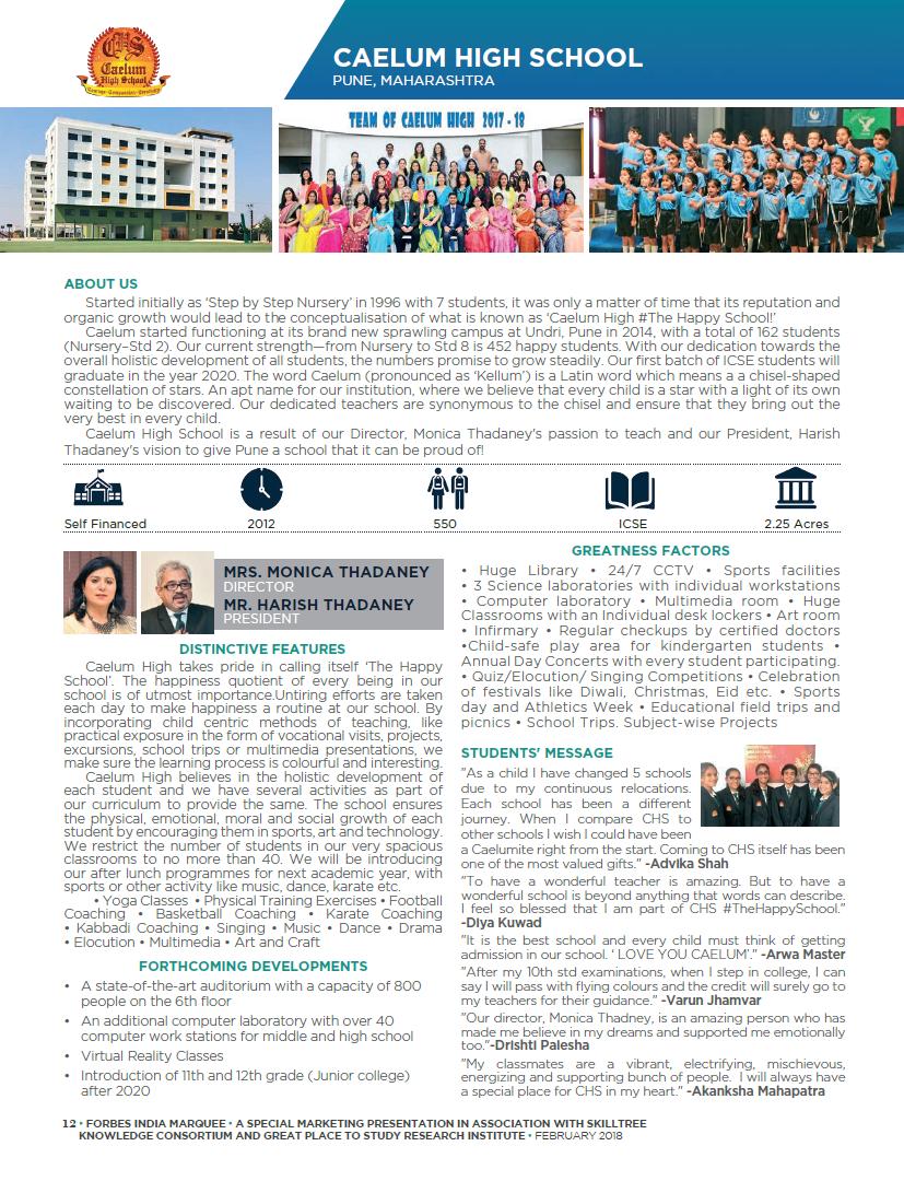 Caelum Forbes India 2018